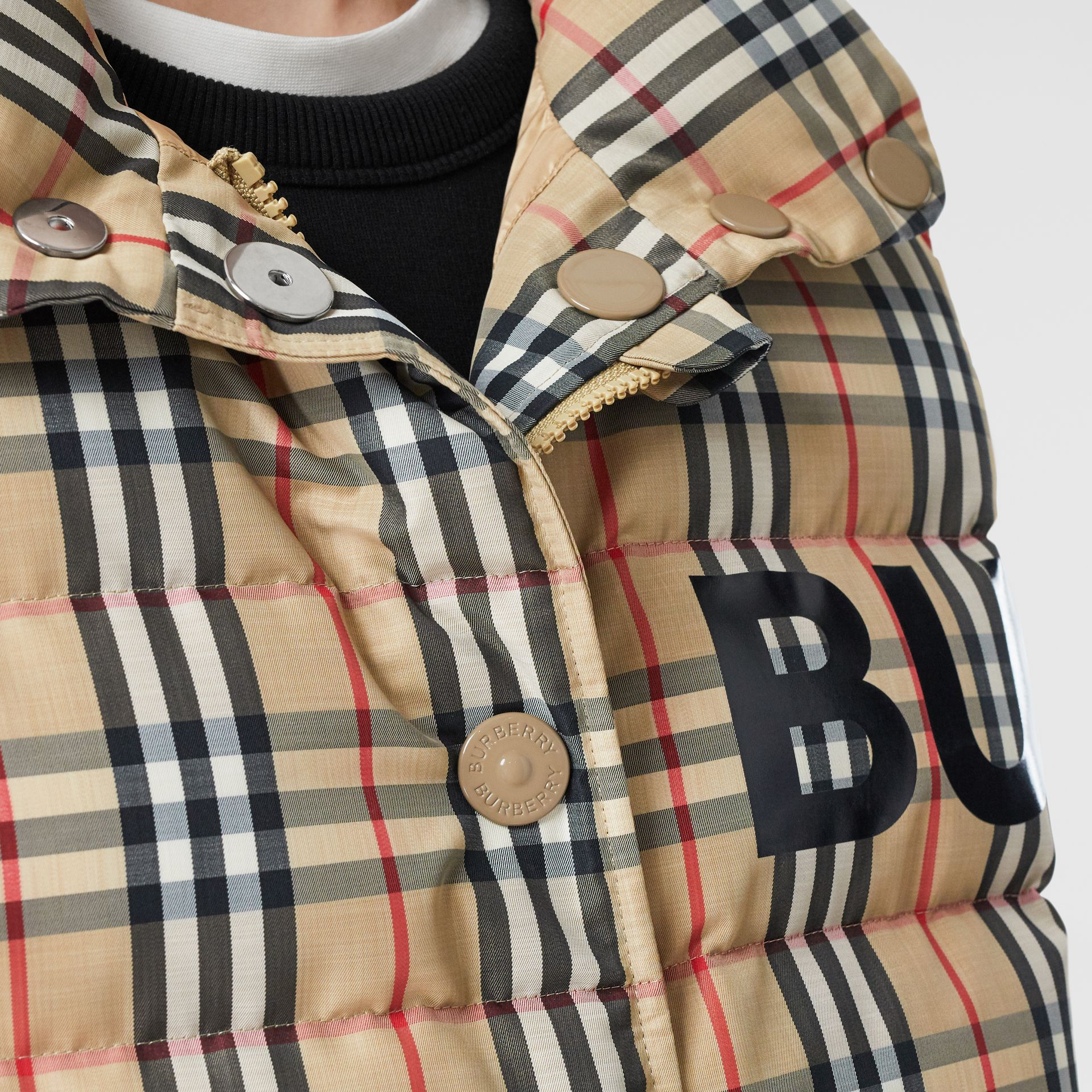 Horseferry Print Vintage Check Puffer Gilet in Archive Beige - Women | Burberry Singapore - gallery image 5