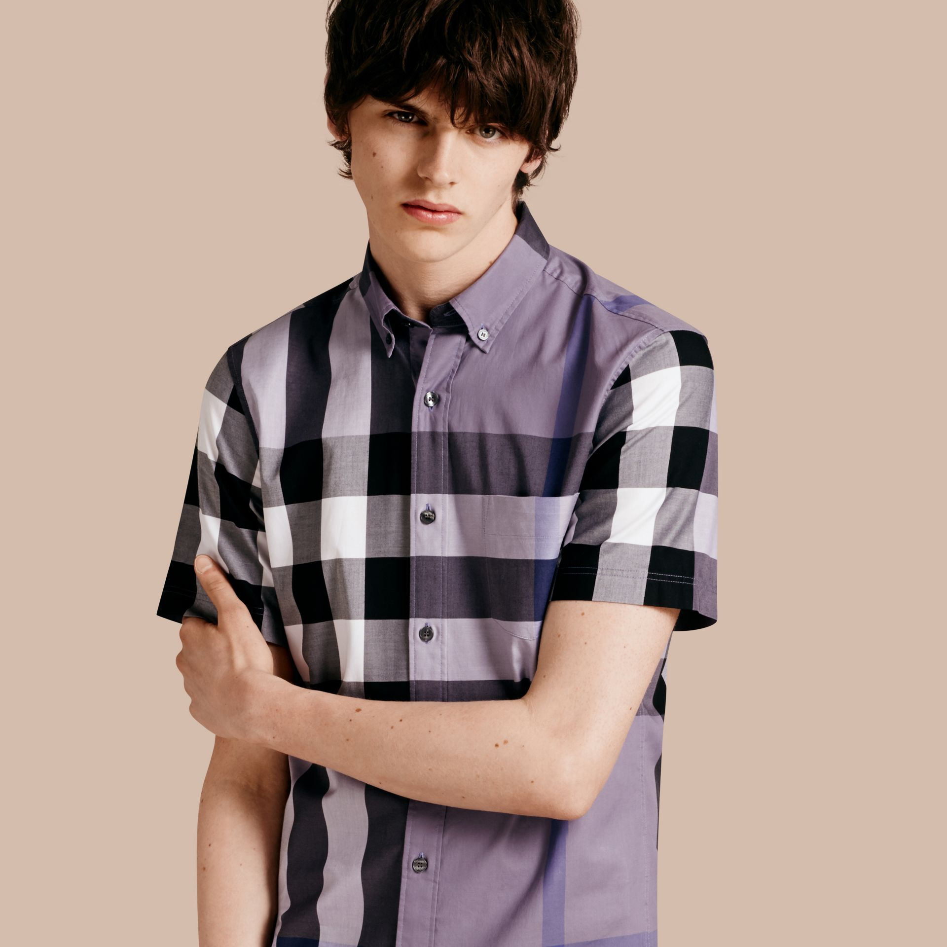 Lilac Short-sleeved Check Cotton Shirt Lilac - gallery image 1