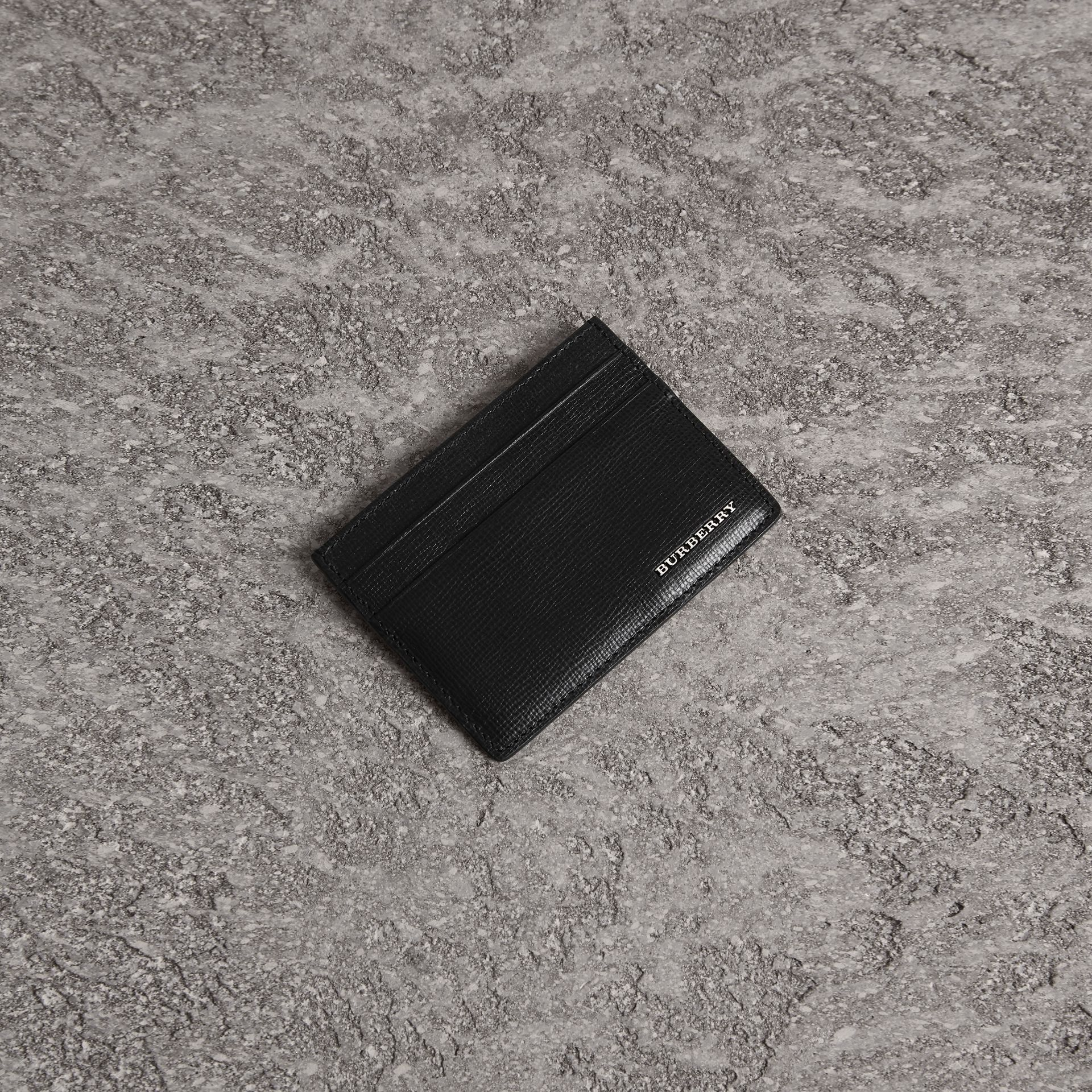 London Leather Card Case in Black | Burberry - gallery image 0