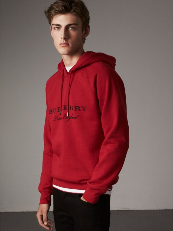 Embroidered Hooded Sweatshirt in Parade Red - Men | Burberry Australia