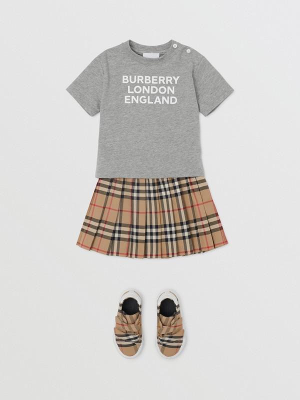 Logo Print Cotton T-shirt in Grey Melange - Children   Burberry United Kingdom - cell image 2