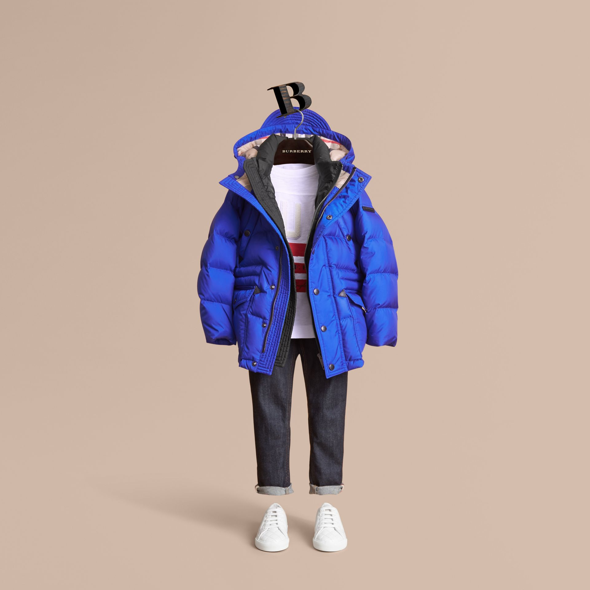Down-filled Hooded Puffer Jacket in Brilliant Blue - Boy | Burberry United States - gallery image 2