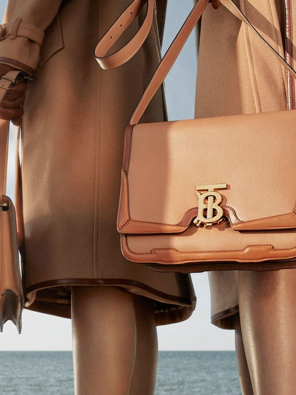 Medium Appliqué Leather TB Bag in Warm Camel - Women | Burberry - cell image 1