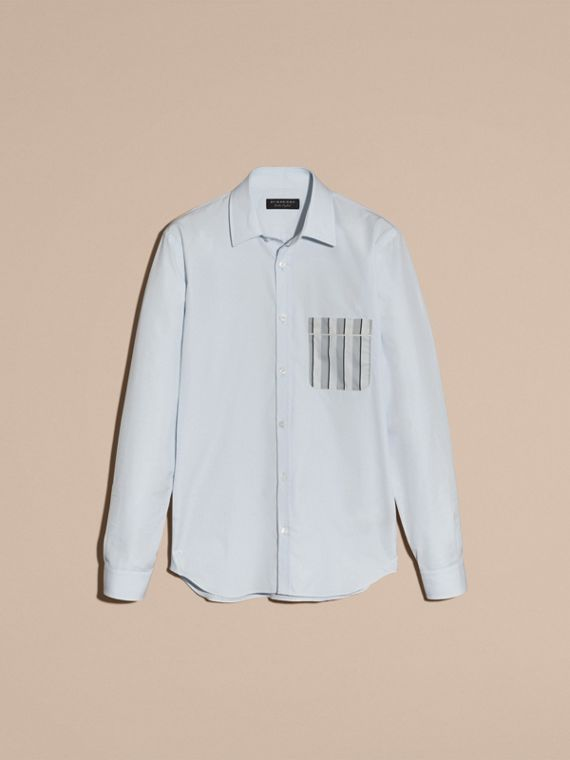 Pale sky blue Cotton Poplin Shirt with Pyjama Stripe Pocket - cell image 3