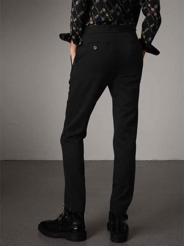 Ribbon Detail Tie-waist Wool Trousers in Black - Women | Burberry - cell image 2