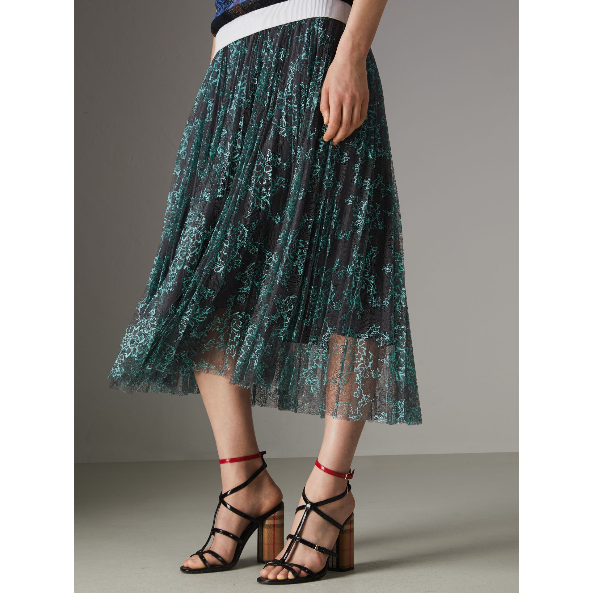 Pleated Lace Skirt in Bright Blue/taupe - Women | Burberry Singapore - gallery image 4