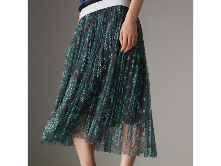 Pleated Lace Skirt in Bright Blue/taupe - Women | Burberry Singapore - cell image 4