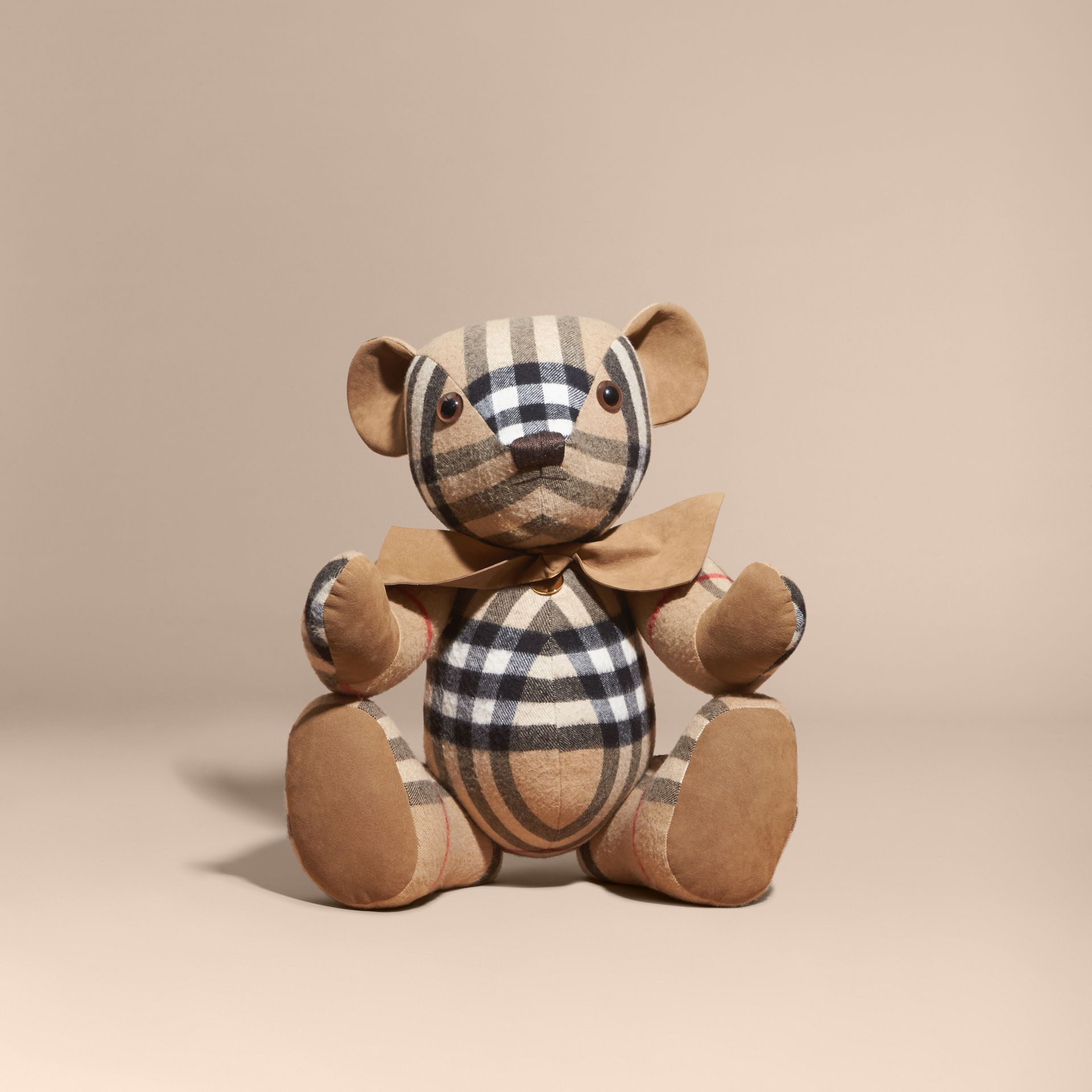 Camel check Large Thomas Bear in Check Cashmere - gallery image 4