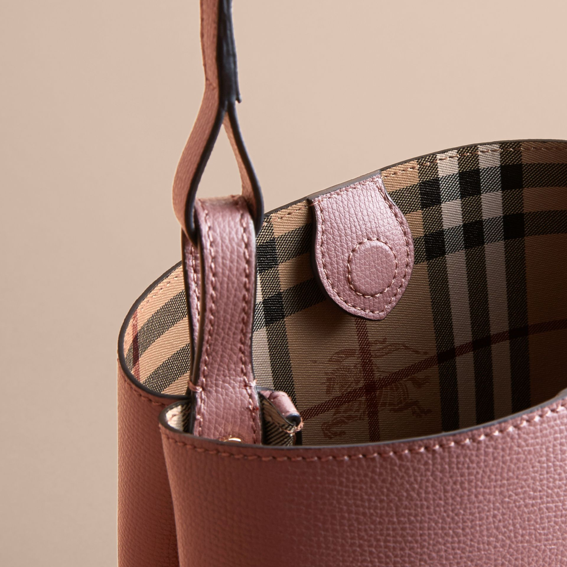 Leather and Haymarket Check Crossbody Bucket Bag in Light Elderberry - Women | Burberry - gallery image 5