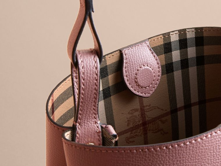 Leather and Haymarket Check Crossbody Bucket Bag in Light Elderberry - Women | Burberry Australia - cell image 4
