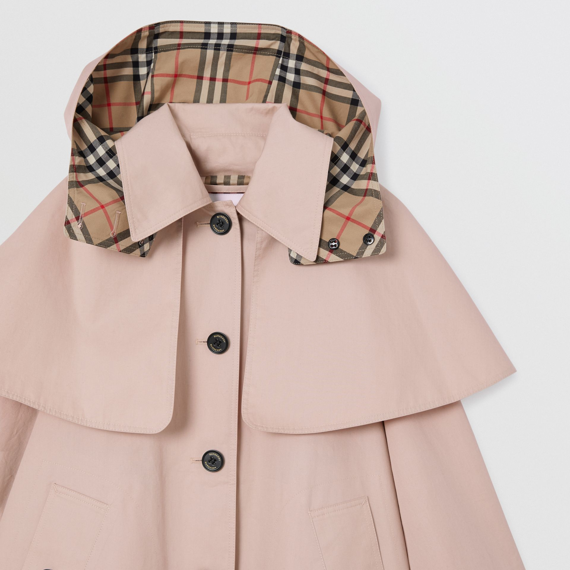Detachable Hood Showerproof Cotton Swing Coat in Ice Pink | Burberry - gallery image 4