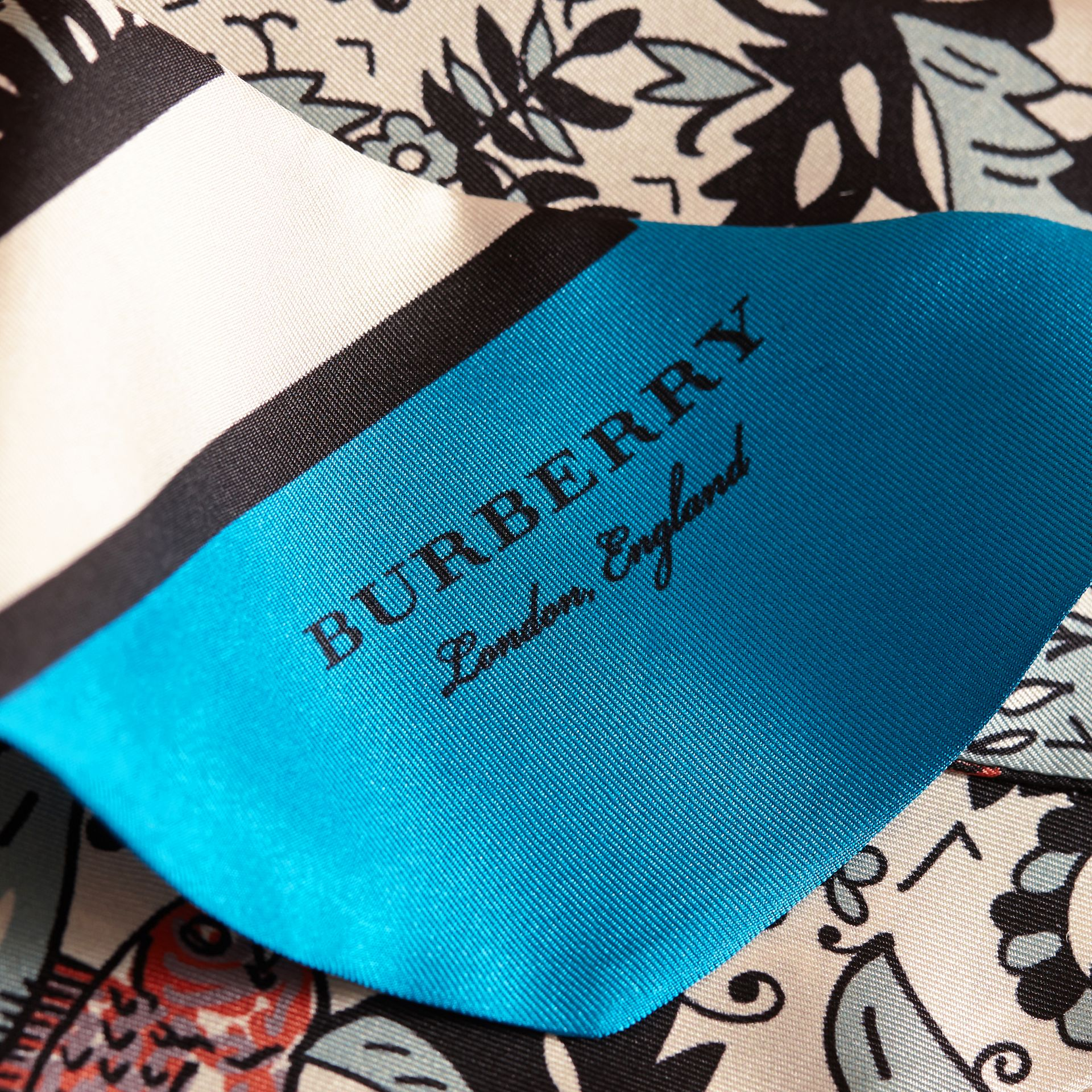 Beasts Print Silk Slim Scarf in Pale Blue Carbon - Women | Burberry United States - gallery image 2