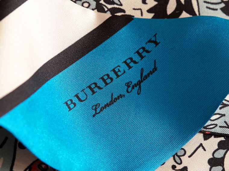 Beasts Print Silk Slim Scarf in Pale Blue Carbon - Women | Burberry - cell image 1