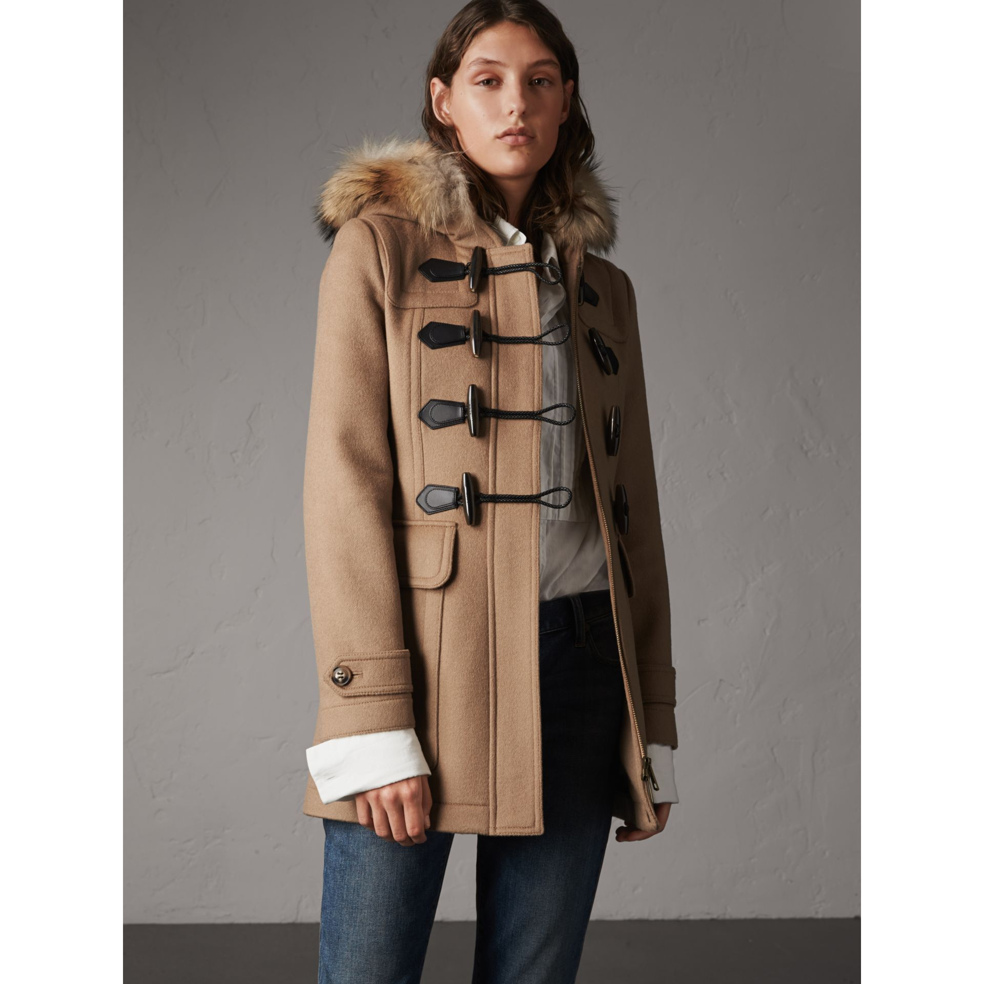 Detachable Fur Trim Wool Duffle Coat in Camel - gallery image 1