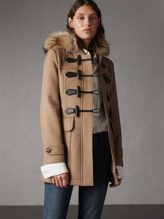 Detachable Fur Trim Wool Duffle Coat in Camel
