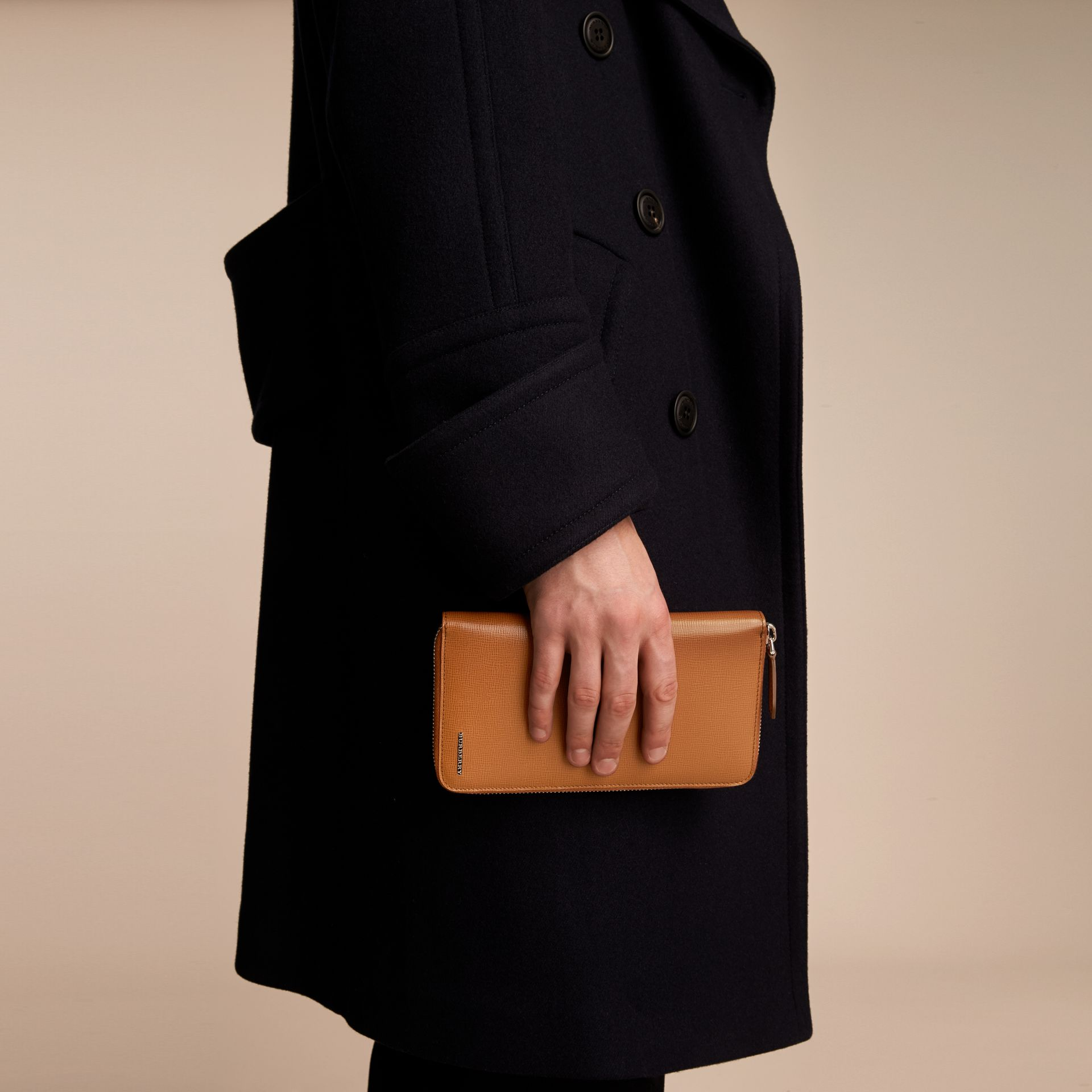London Leather Ziparound Wallet in Tan | Burberry Australia - gallery image 3