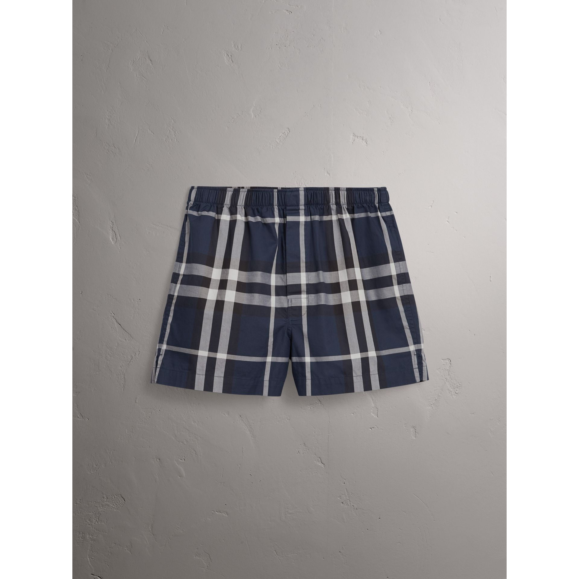 Check Twill Cotton Boxer Shorts in Navy - Men | Burberry - gallery image 3