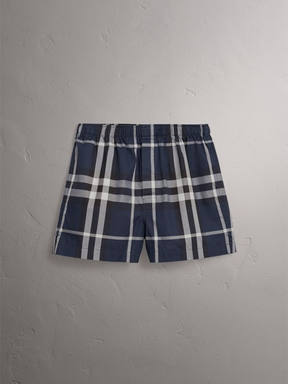 Check Twill Cotton Boxer Shorts in Navy