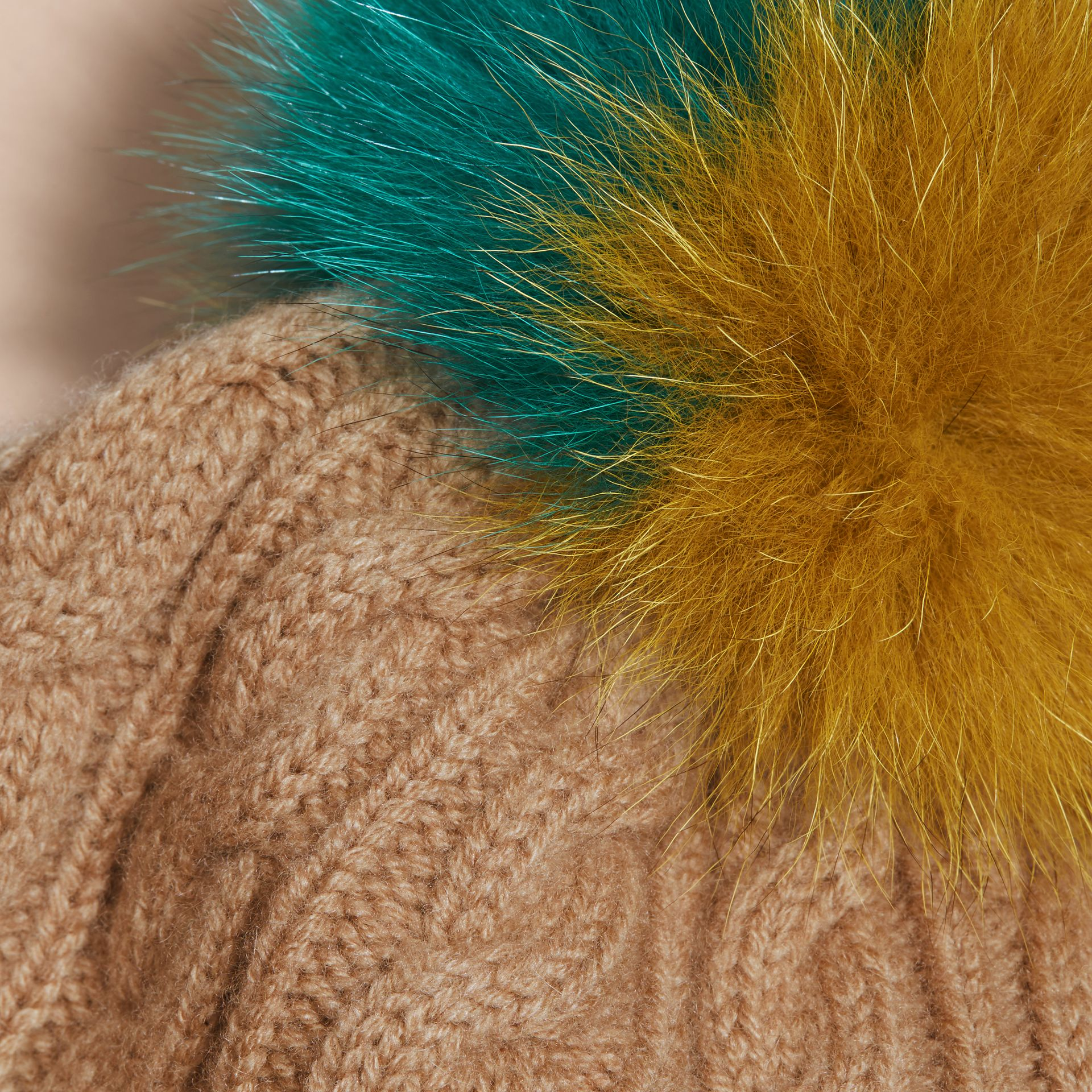 Wool Cashmere Beanie with Fur Pom-Pom in Camel - gallery image 3