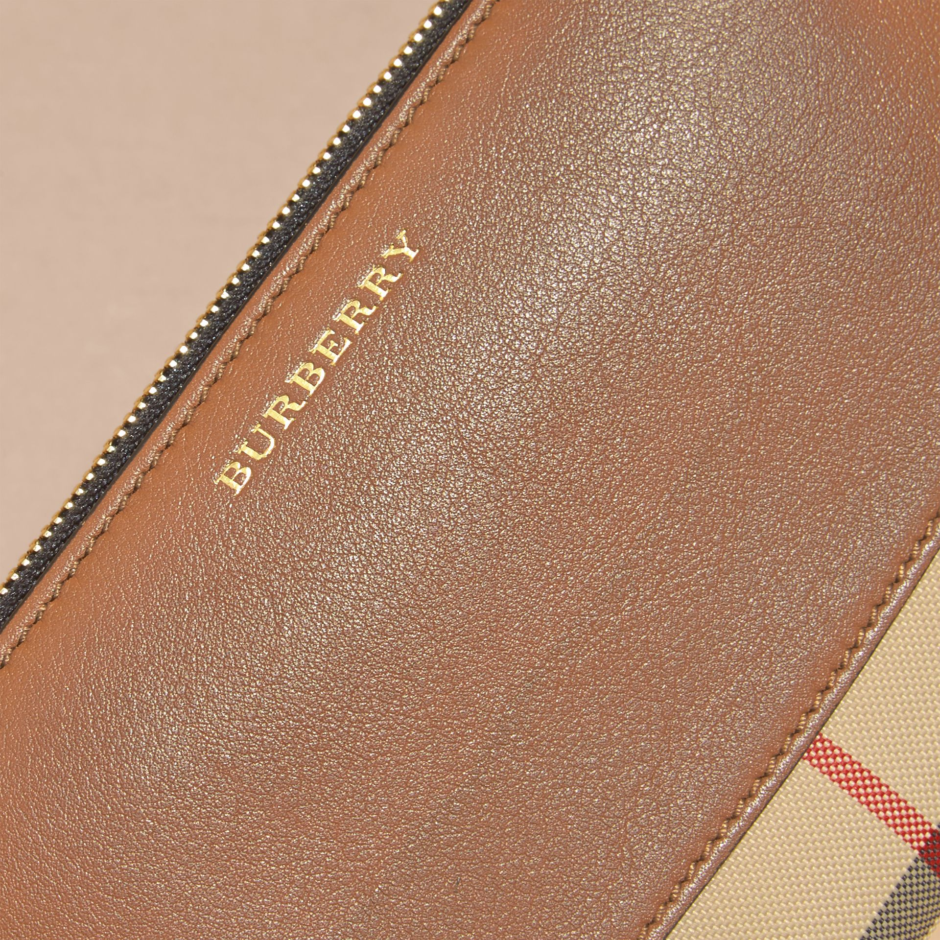 Horseferry Check and Leather Ziparound Wallet in Tan - Women | Burberry - gallery image 2