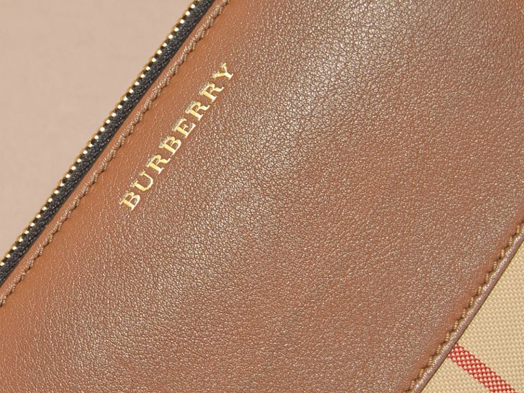 Horseferry Check and Leather Ziparound Wallet in Tan - Women | Burberry - cell image 1