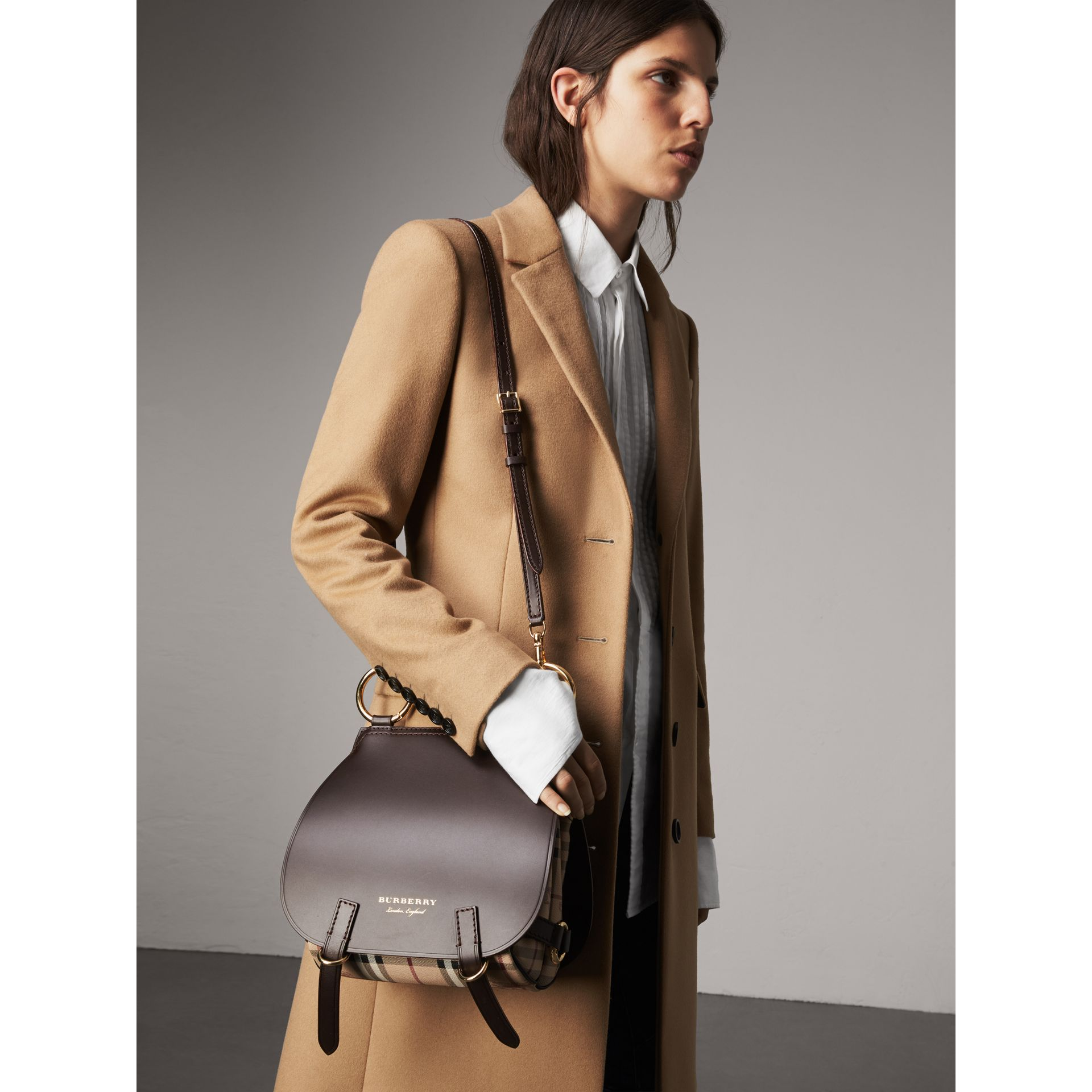 The Bridle Bag in Leather and Haymarket Check in Dark Clove Brown - Women | Burberry - gallery image 4