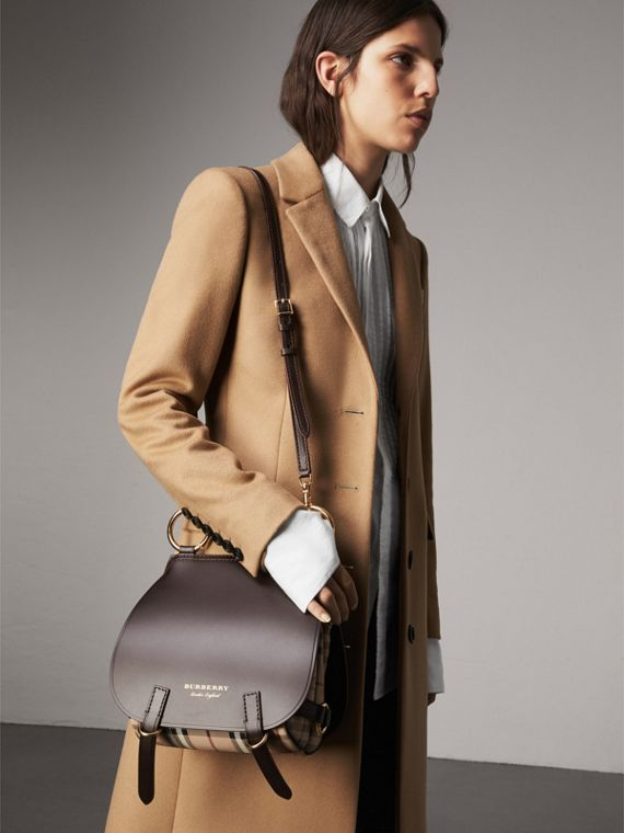 The Bridle Bag in Leather and Haymarket Check in Dark Clove Brown - Women | Burberry - cell image 3