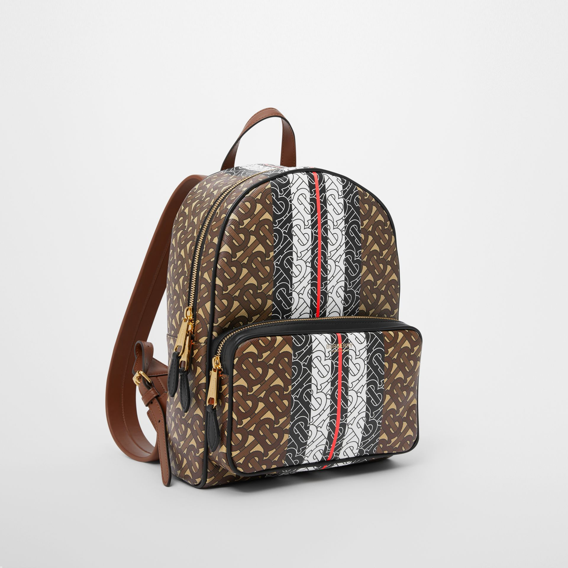 Monogram Stripe Print E-canvas Backpack in Bridle Brown - Women | Burberry - gallery image 4