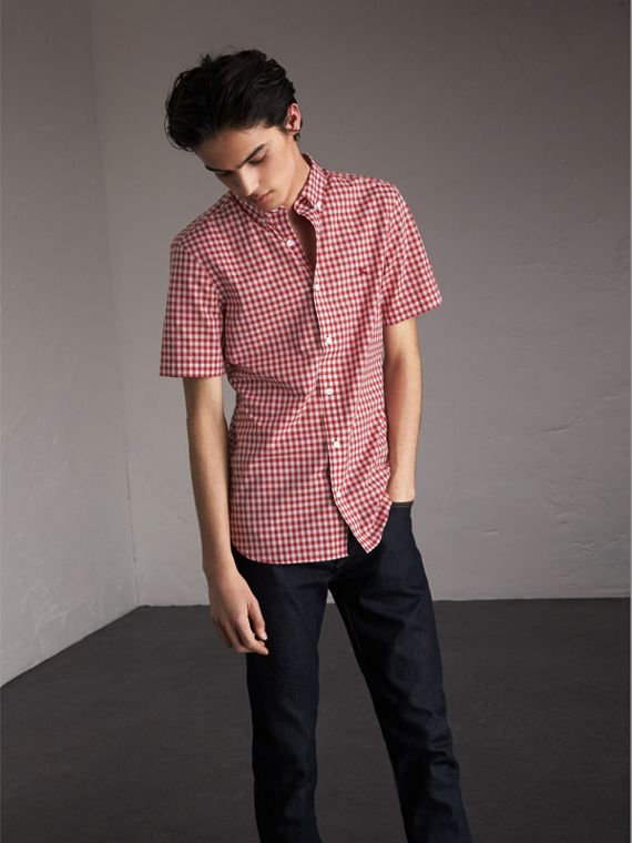 Short-sleeve Button-down Collar Cotton Gingham Shirt in Parade Red - Men | Burberry - cell image 3