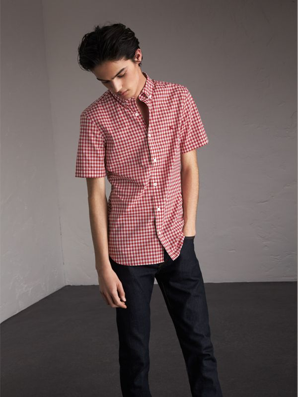 Short-sleeve Button-down Collar Cotton Gingham Shirt in Parade Red - Men | Burberry United Kingdom - cell image 3