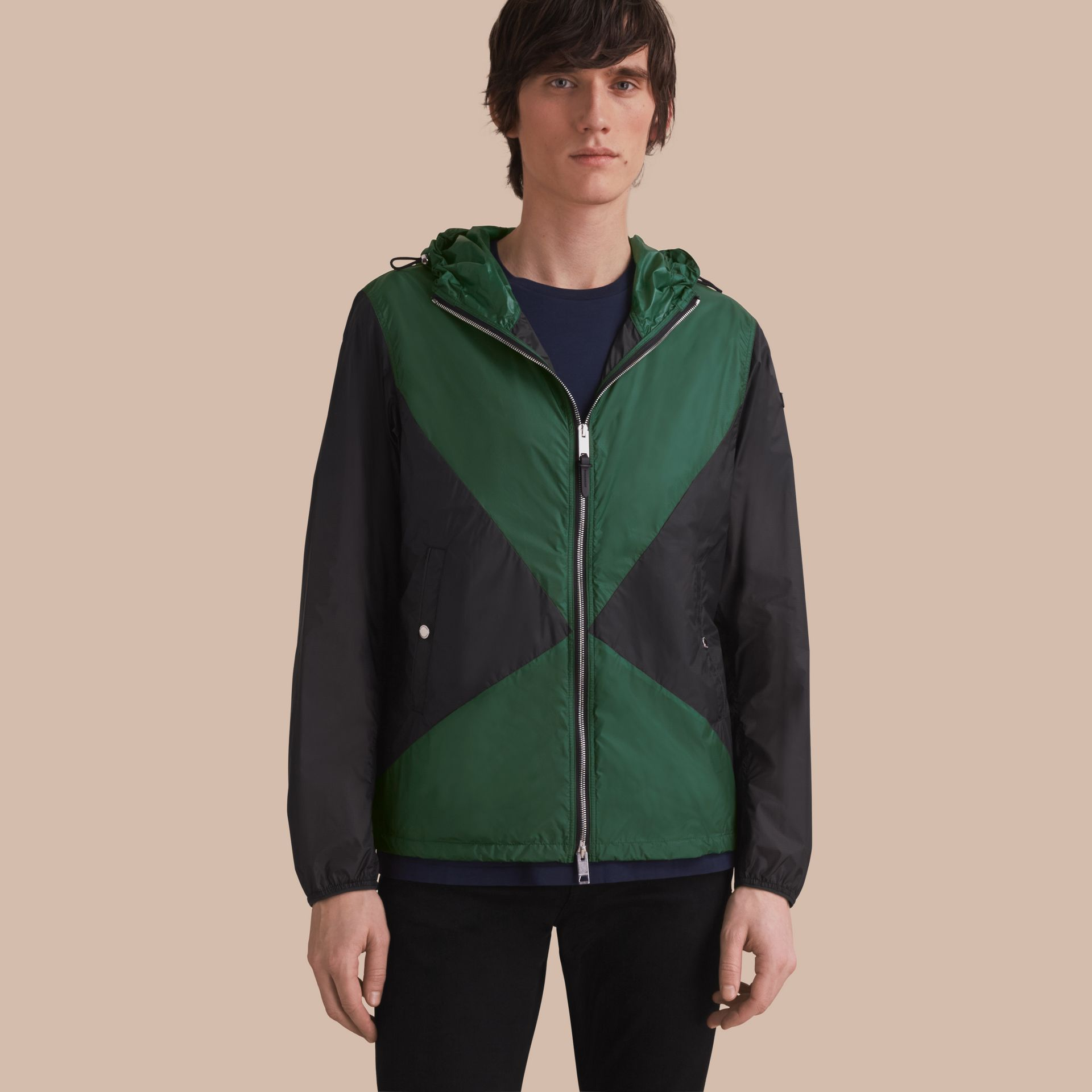 Ultra-lightweight Geometric Motif Technical Jacket with Hood - gallery image 1
