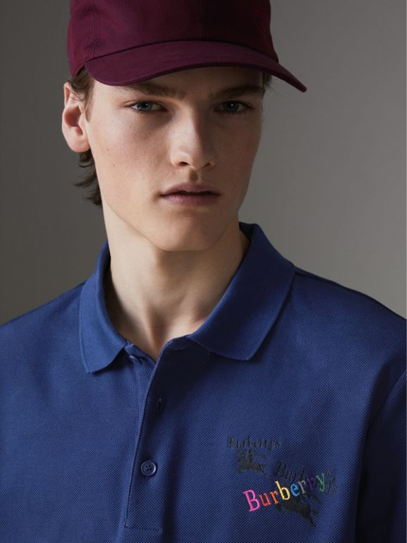 Triple Archive Logo Cotton Piqué Polo Shirt in Bright Indigo - Men | Burberry Canada - cell image 1