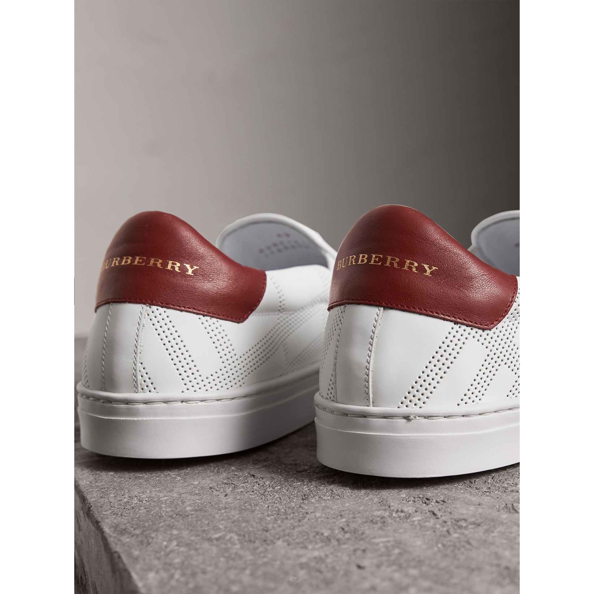 Perforated Check Leather Slip-on Trainers in Optic White/deep Claret Melange - Men | Burberry United States - gallery image 4