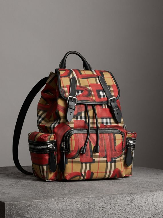 The Medium Rucksack in Graffiti Print Vintage Check in Antique Yellow/red