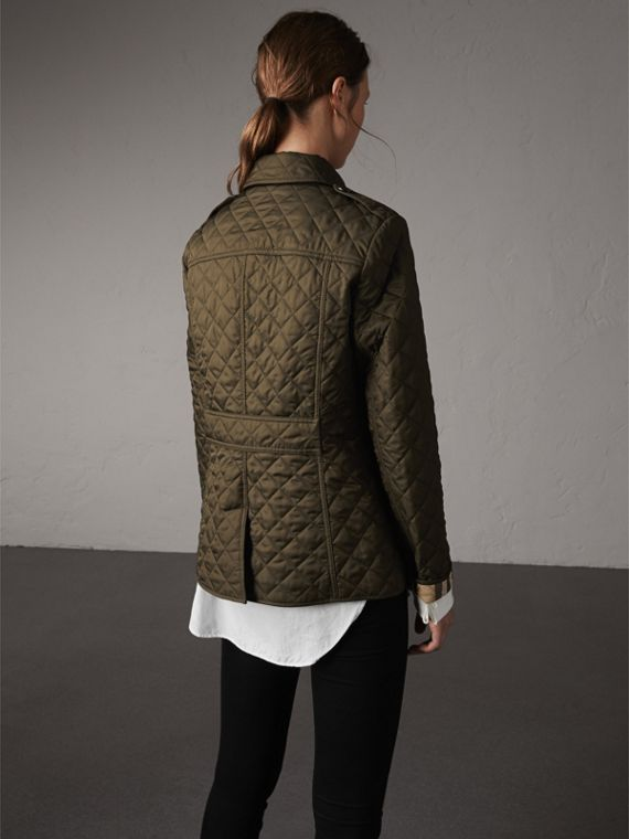 Diamond Quilted Jacket in Dark Olive - Women | Burberry Singapore - cell image 2