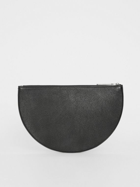 The Leather D Clutch in Black