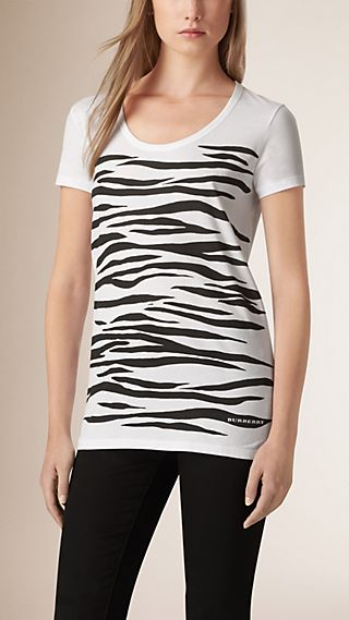 Zebra Print Cotton T-shirt