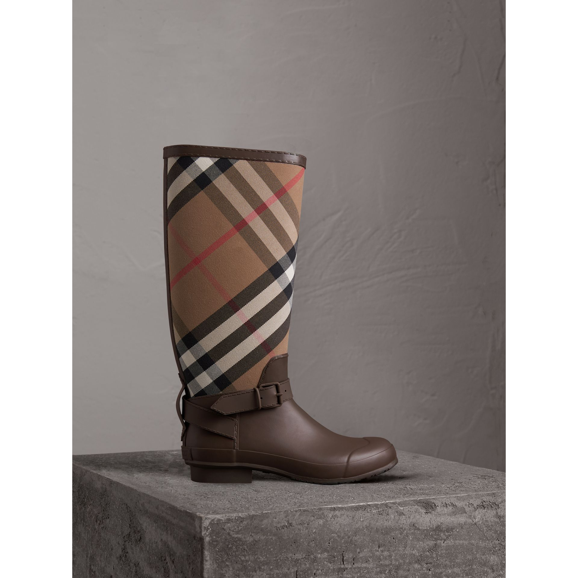 Belt Detail House Check and Rubber Rain Boots in Bitter Chocolate - Men | Burberry Canada - gallery image 1