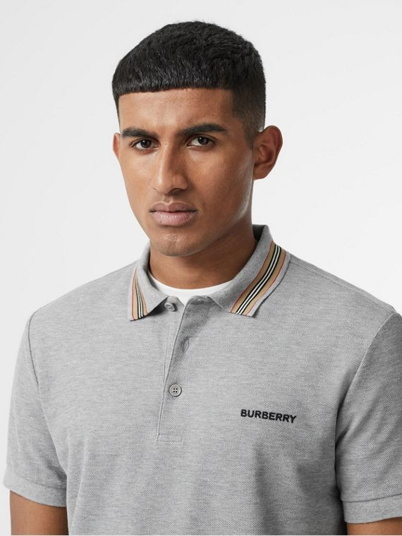 Icon Stripe Detail Cotton Piqué Polo Shirt in Pale Grey Melange