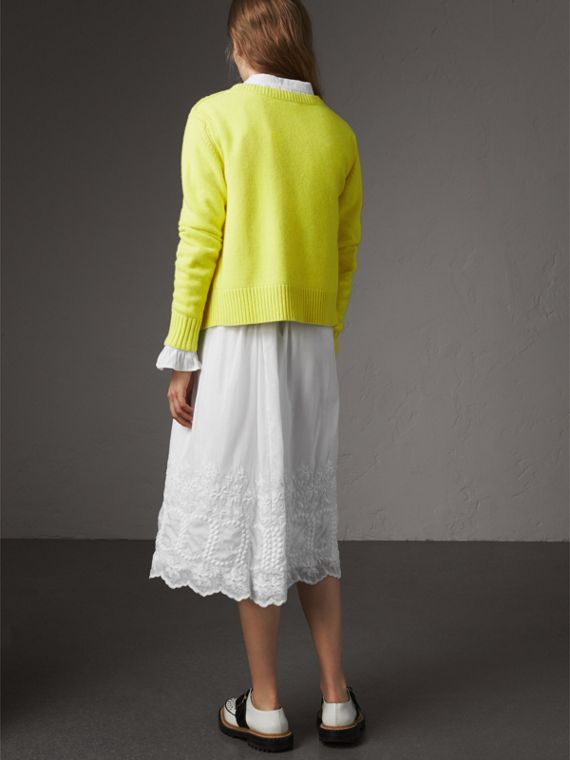 Bird Button Cashmere Cardigan in Bright Citrine - Women | Burberry Singapore - cell image 2