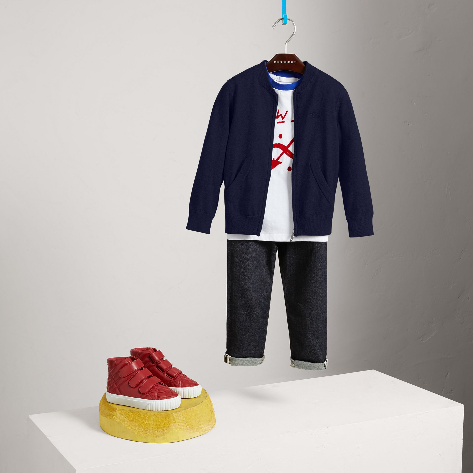 Check Elbow Patch Bomber Cardigan in Navy - Boy | Burberry - gallery image 0