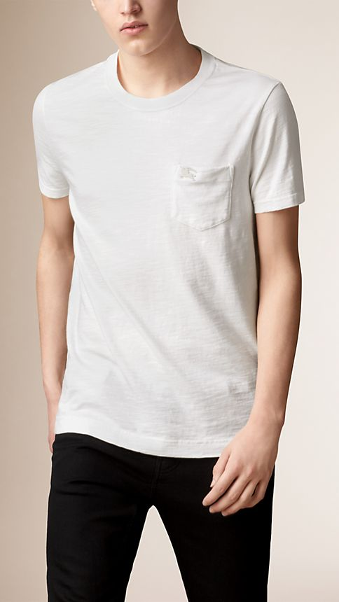 White Slub Jersey Double Dyed T-Shirt - Image 1
