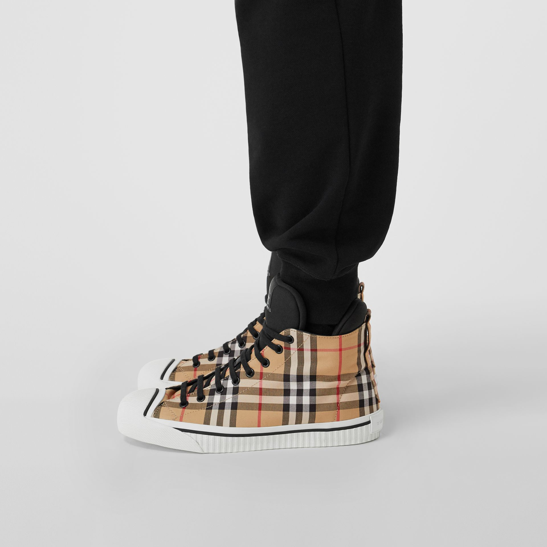 Vintage Check High-top Sneakers in Antique Yellow - Men | Burberry - gallery image 2