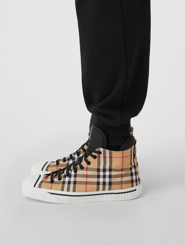 Vintage Check High-top Sneakers in Antique Yellow - Men | Burberry - cell image 2