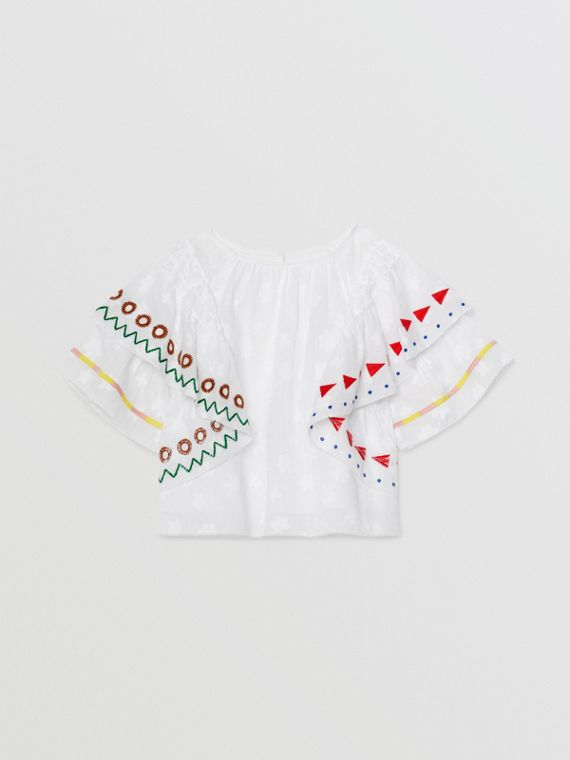 Ruffle Detail Embroidered Fil Coupé Cotton Top in White