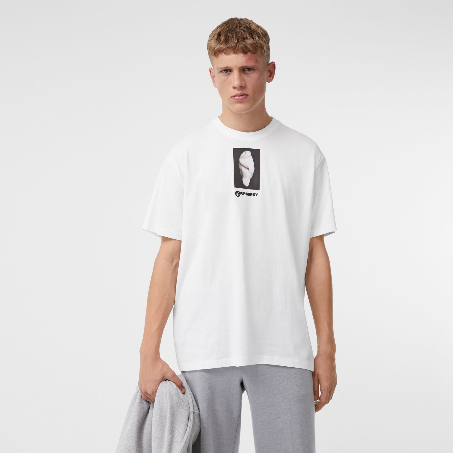 Montage Print Cotton Oversized T-shirt in Optic White | Burberry United Kingdom - gallery image 0