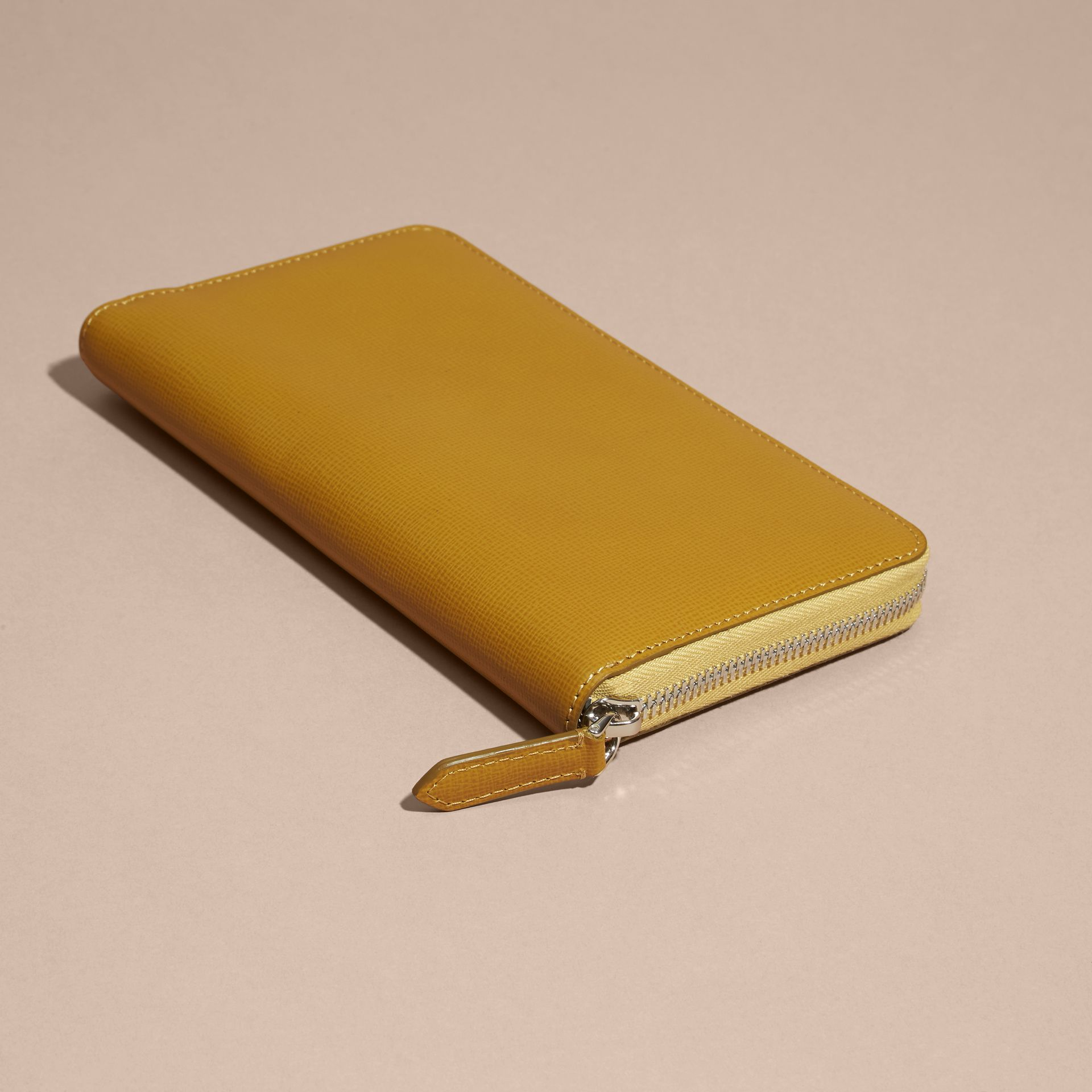 London Leather Ziparound Wallet in Larch Yellow - gallery image 2