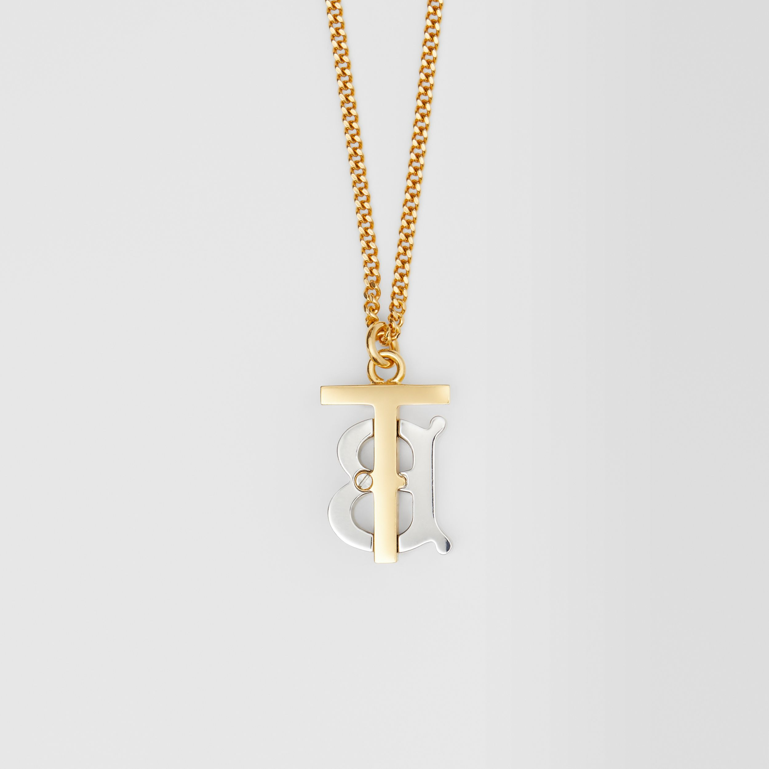 Gold and Palladium-plated Monogram Motif Necklace in Light Gold/palladium - Women | Burberry Hong Kong S.A.R. - 4
