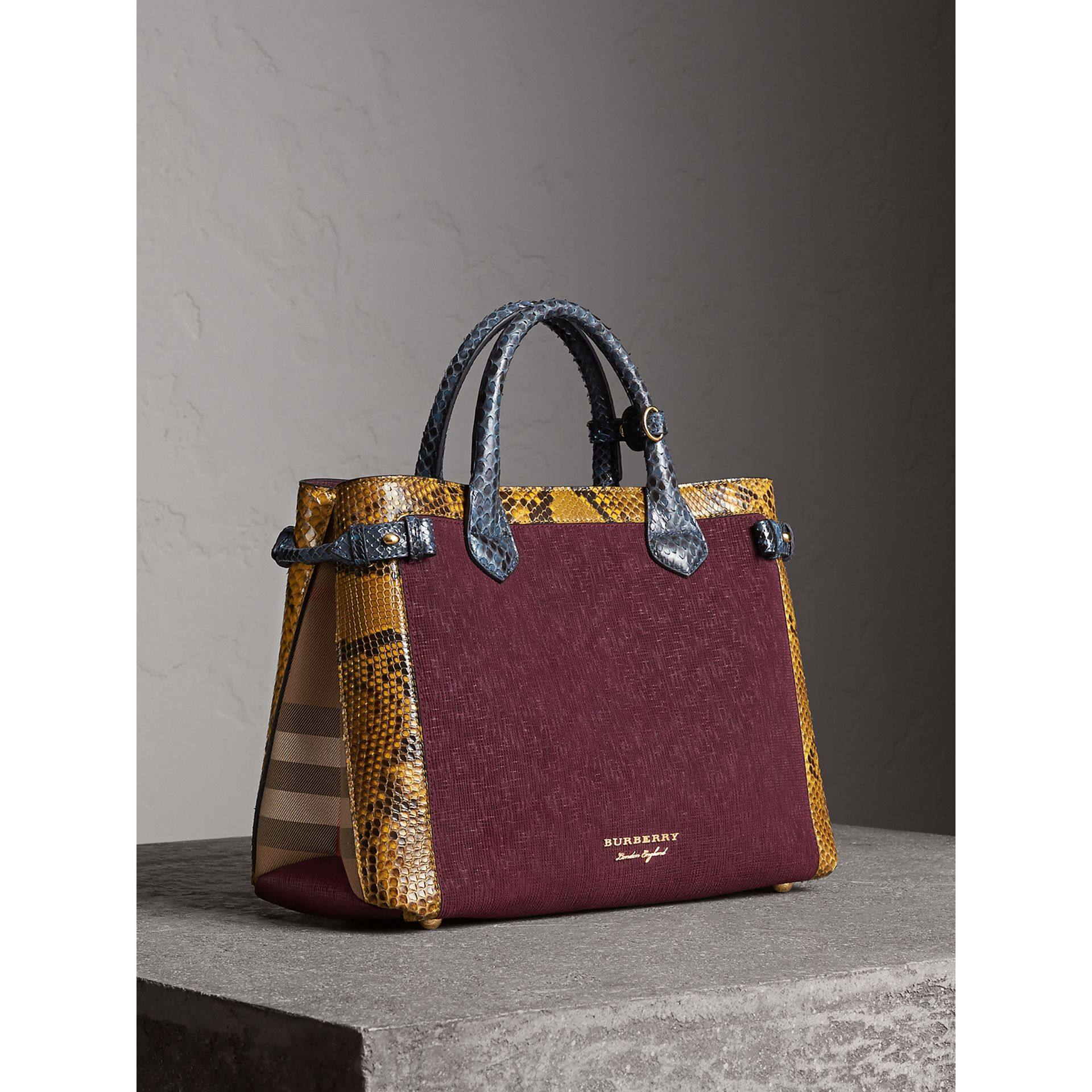 The Medium Banner in Leather, Python and House Check in Elderberry - Women | Burberry Australia - gallery image 1