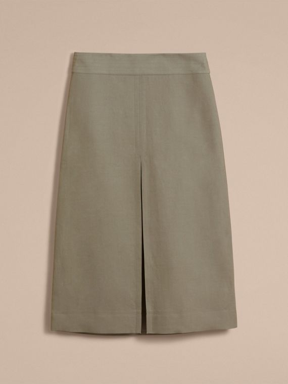 Inverted Pleat Ramie Cotton Skirt - cell image 3